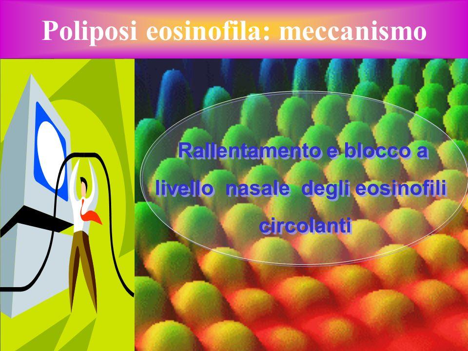 Poliposi eosinofila: meccanismo Rallentamento e blocco a livello nasale degli eosinofili circolanti Rallentamento e blocco a livello nasale degli eosi