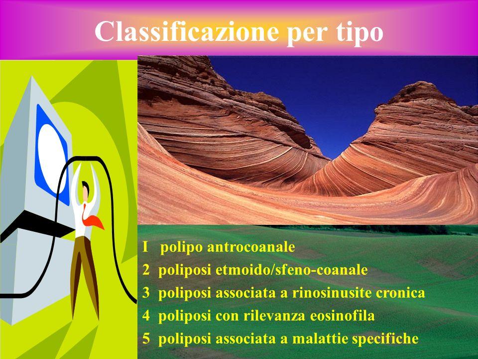 Classificazione per tipo I polipo antrocoanale 2 poliposi etmoido/sfeno-coanale 3 poliposi associata a rinosinusite cronica 4 poliposi con rilevanza e