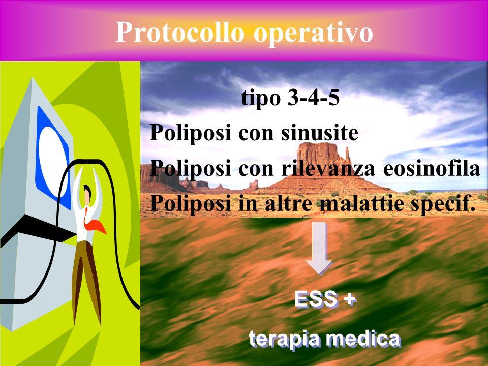 Protocollo operativo tipo 3-4-5 Poliposi con sinusite Poliposi con rilevanza eosinofila Poliposi in altre malattie specif. ESS + terapia medica ESS +