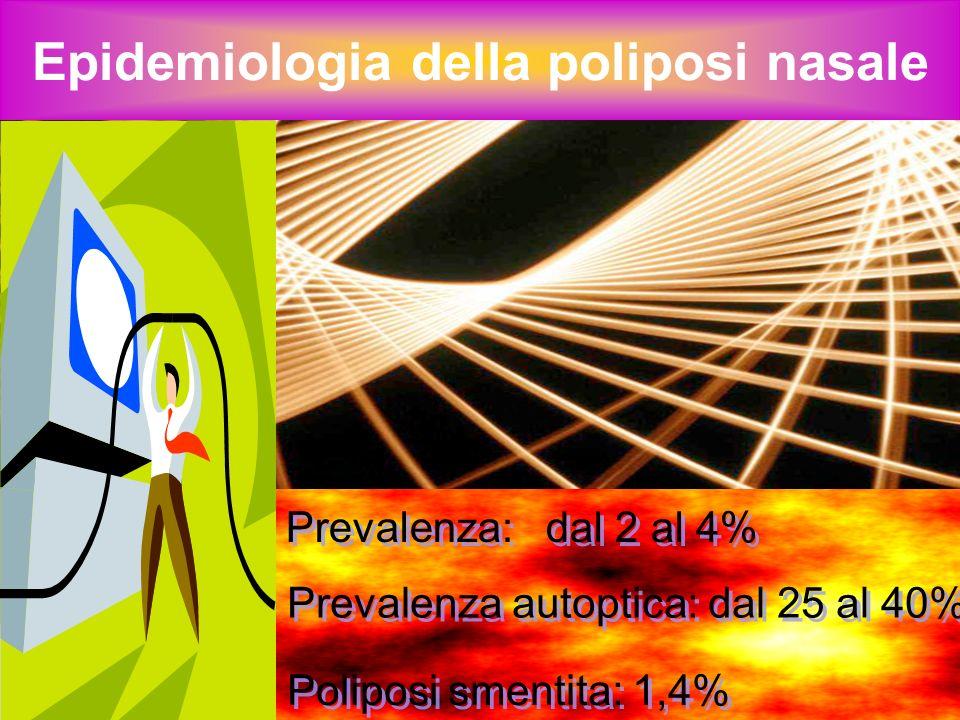 Epidemiologia della poliposi nasale Prevalenza maschile (circa 2/1) Età media: 50 anni circa Recidivanza: 60% circa