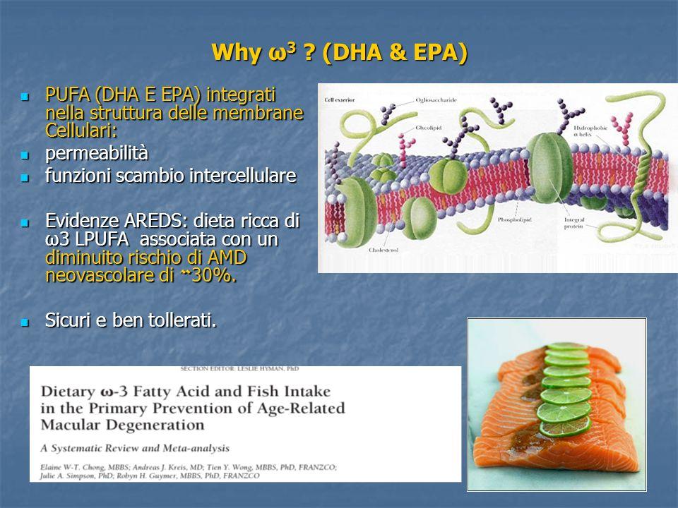 Why ω 3 ? (DHA & EPA) PUFA (DHA E EPA) integrati nella struttura delle membrane Cellulari: PUFA (DHA E EPA) integrati nella struttura delle membrane C