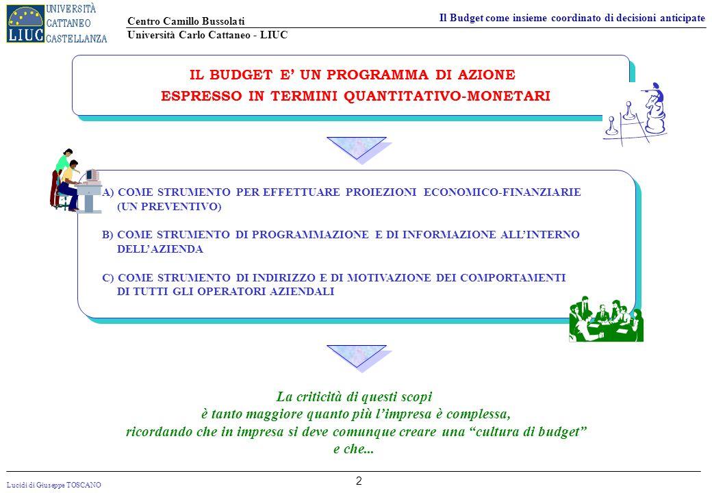 Lucidi di Giuseppe TOSCANO Centro Camillo Bussolati Università Carlo Cattaneo - LIUC Il Budget come insieme coordinato di decisioni anticipate 2 IL BU