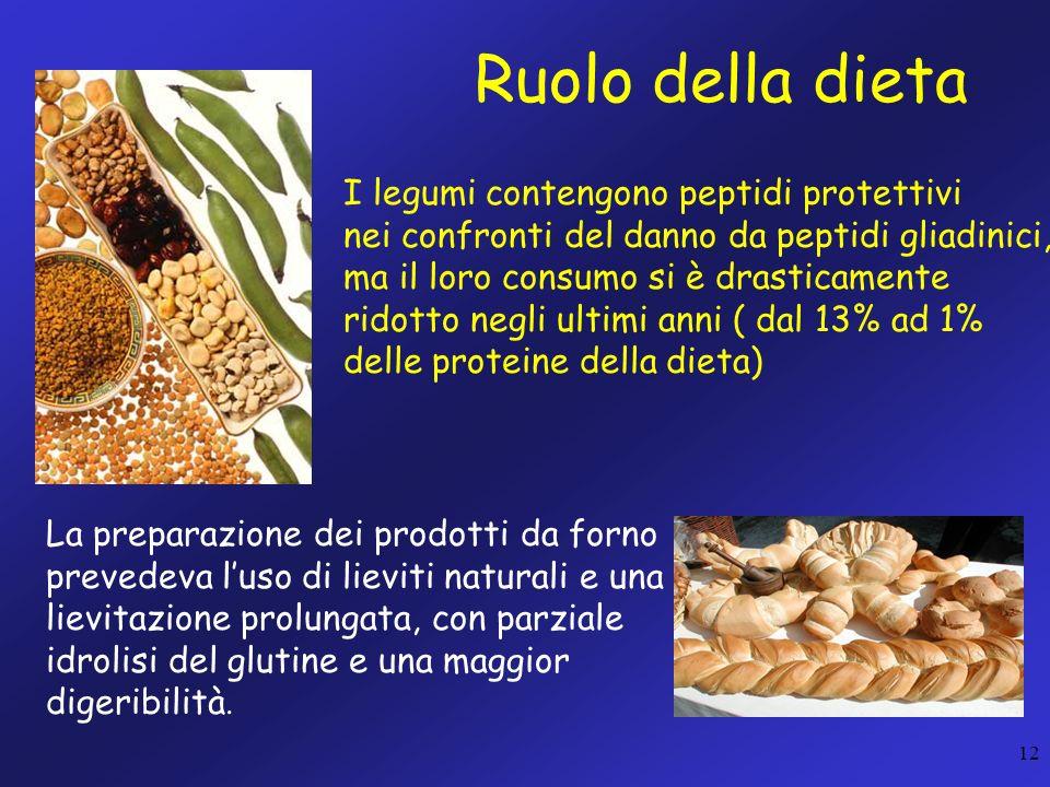 12 Ruolo della dieta I legumi contengono peptidi protettivi nei confronti del danno da peptidi gliadinici, ma il loro consumo si è drasticamente ridot