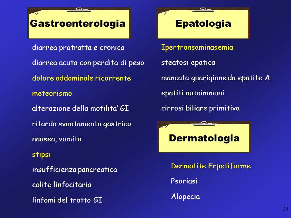 20 diarrea protratta e cronica diarrea acuta con perdita di peso dolore addominale ricorrente meteorismo alterazione della motilita GI ritardo svuotam