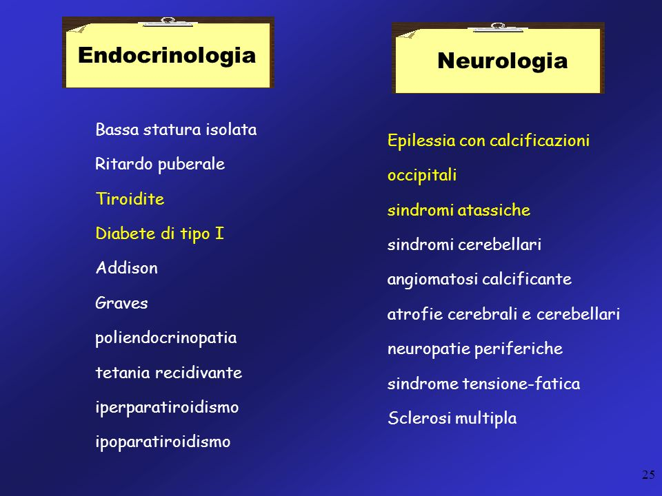 25 Endocrinologia Bassa statura isolata Ritardo puberale Tiroidite Diabete di tipo I Addison Graves poliendocrinopatia tetania recidivante iperparatir