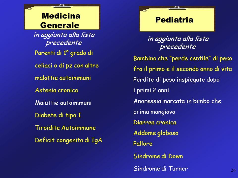 26 Pediatria in aggiunta alla lista precedente Bambino che perde centile di peso fra il primo e il secondo anno di vita Perdite di peso inspiegate dop