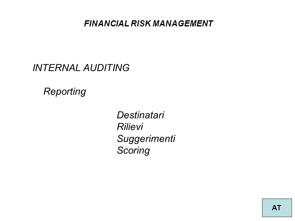 FINANCIAL RISK MANAGEMENT AT INTERNAL AUDITING Reporting Destinatari Rilievi Suggerimenti Scoring