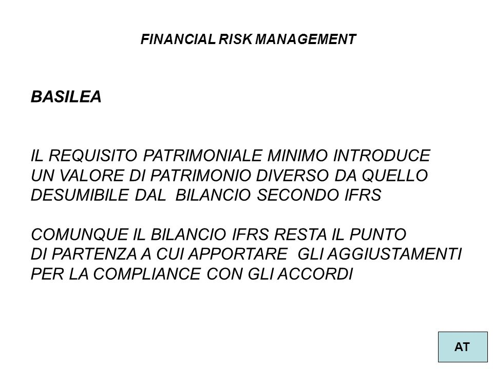 FINANCIAL RISK MANAGEMENT AT BASILEA IL REQUISITO PATRIMONIALE MINIMO INTRODUCE UN VALORE DI PATRIMONIO DIVERSO DA QUELLO DESUMIBILE DAL BILANCIO SECO