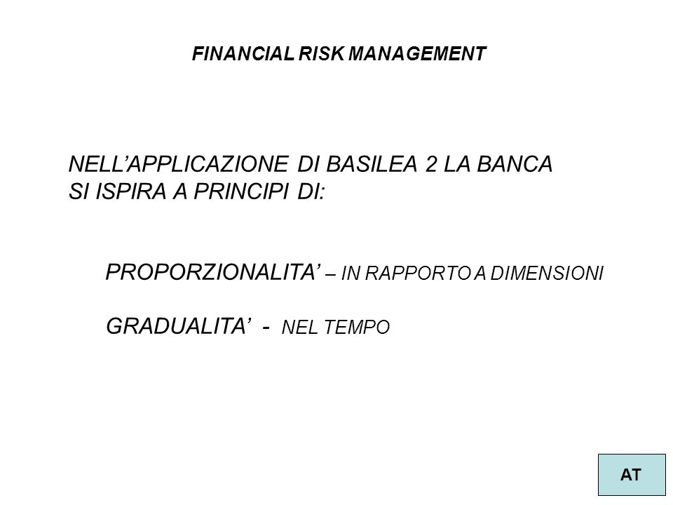 FINANCIAL RISK MANAGEMENT AT NELLAPPLICAZIONE DI BASILEA 2 LA BANCA SI ISPIRA A PRINCIPI DI: PROPORZIONALITA – IN RAPPORTO A DIMENSIONI GRADUALITA - N