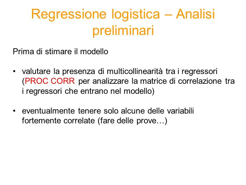 Regressione logistica – Selezione regressori Scelta dei regressori che entrano nel modello eventualmente eliminare a priori alcuni regressori in seguito allanalisi di multicollinearità metodo di selezione automatica (PROC LOGISTIC con opzione STEPWISE) funziona come per la regressione lineare