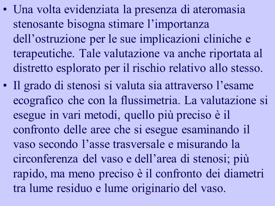 Una volta evidenziata la presenza di ateromasia stenosante bisogna stimare limportanza dellostruzione per le sue implicazioni cliniche e terapeutiche.