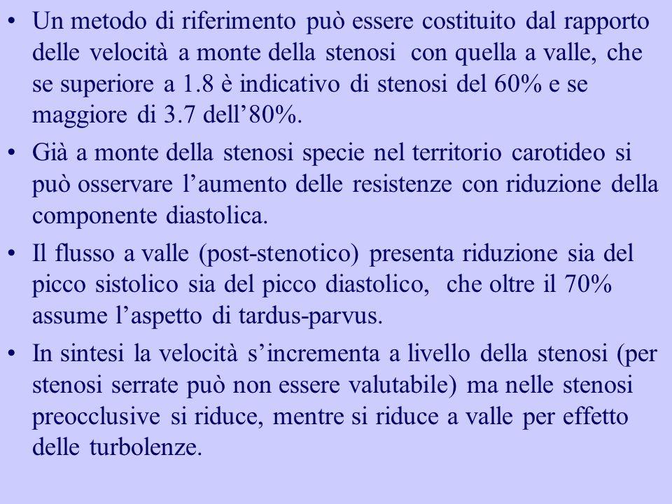 Un metodo di riferimento può essere costituito dal rapporto delle velocità a monte della stenosi con quella a valle, che se superiore a 1.8 è indicati