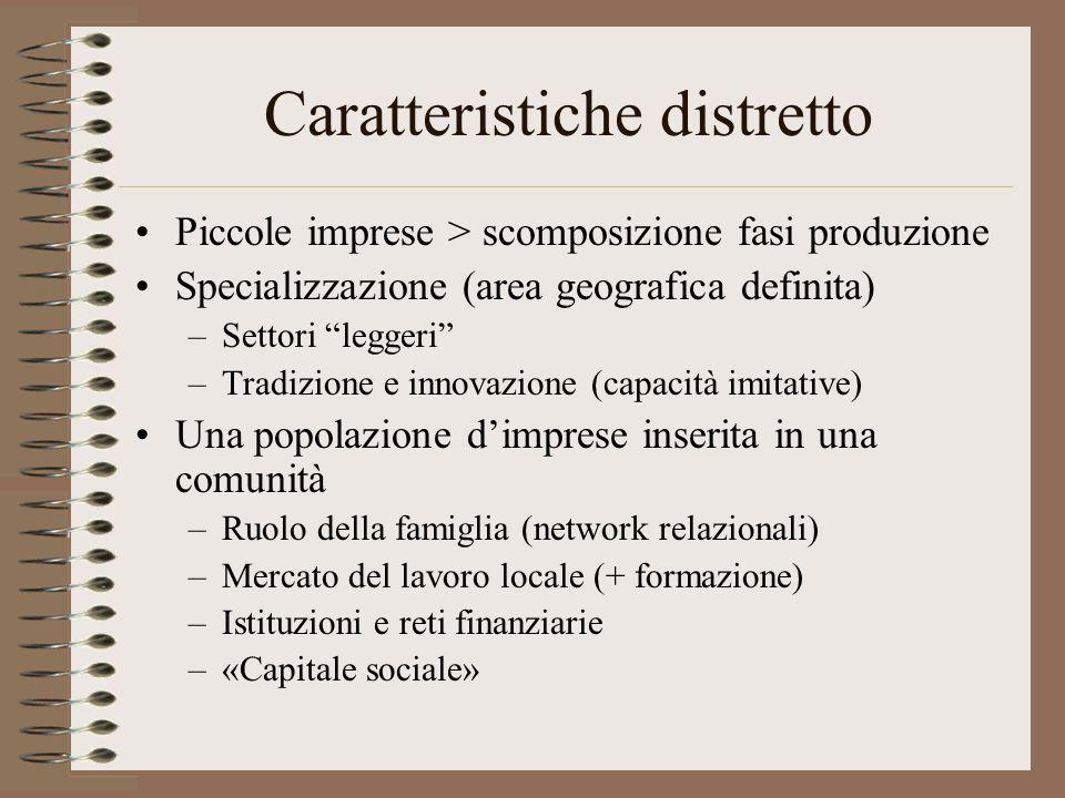 Caratteristiche distretto Piccole imprese > scomposizione fasi produzione Specializzazione (area geografica definita) –Settori leggeri –Tradizione e i