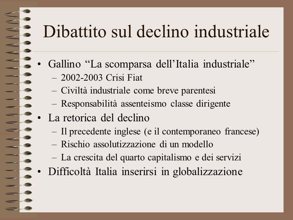 Dibattito sul declino industriale Gallino La scomparsa dellItalia industriale –2002-2003 Crisi Fiat –Civiltà industriale come breve parentesi –Respons