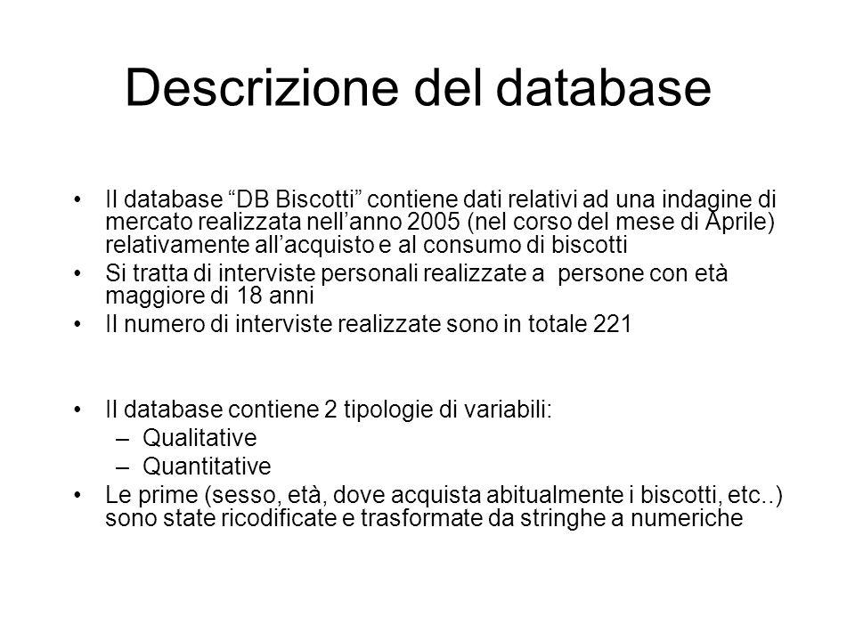 Descrizione del database Il database DB Biscotti contiene dati relativi ad una indagine di mercato realizzata nellanno 2005 (nel corso del mese di Apr