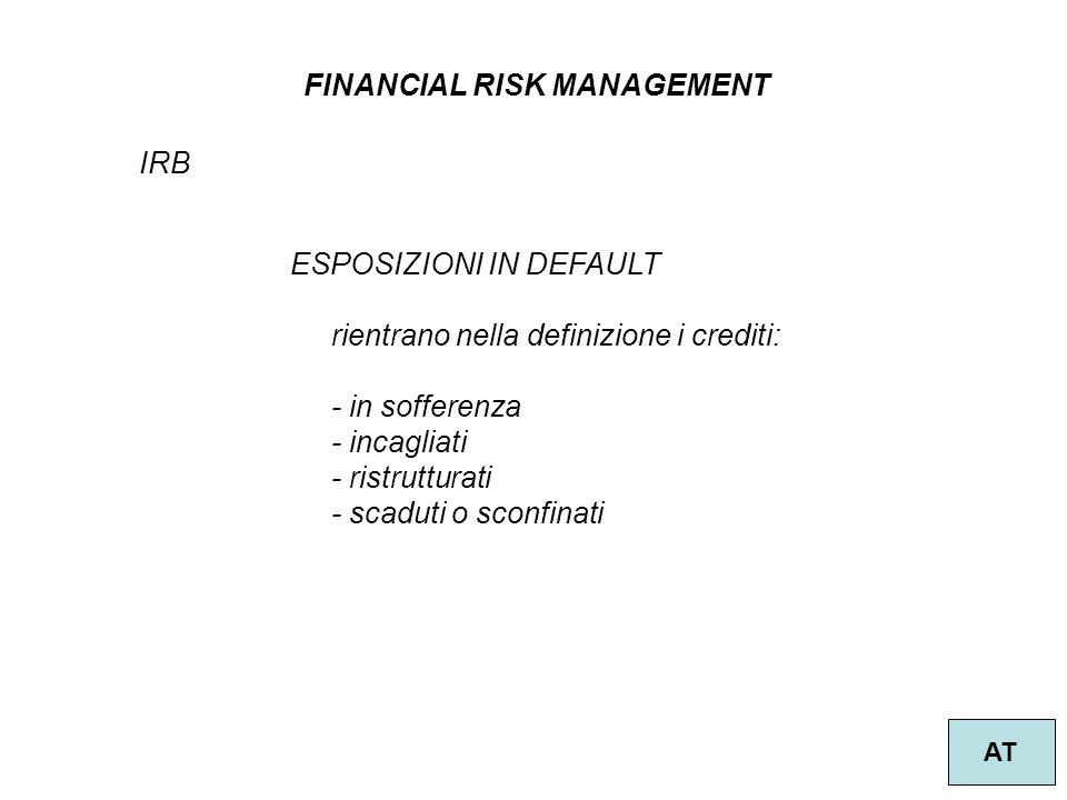 10 FINANCIAL RISK MANAGEMENT AT IRB ESPOSIZIONI IN DEFAULT rientrano nella definizione i crediti: - in sofferenza - incagliati - ristrutturati - scaduti o sconfinati