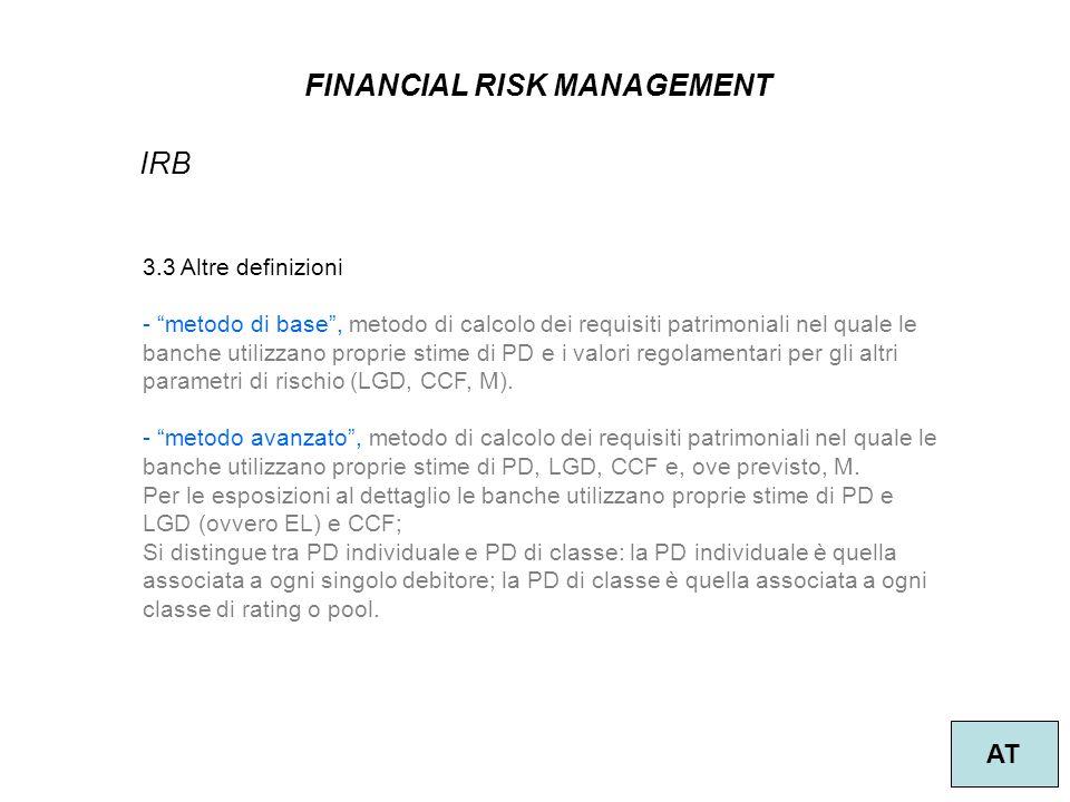 12 FINANCIAL RISK MANAGEMENT AT IRB 3.3 Altre definizioni - metodo di base, metodo di calcolo dei requisiti patrimoniali nel quale le banche utilizzano proprie stime di PD e i valori regolamentari per gli altri parametri di rischio (LGD, CCF, M).
