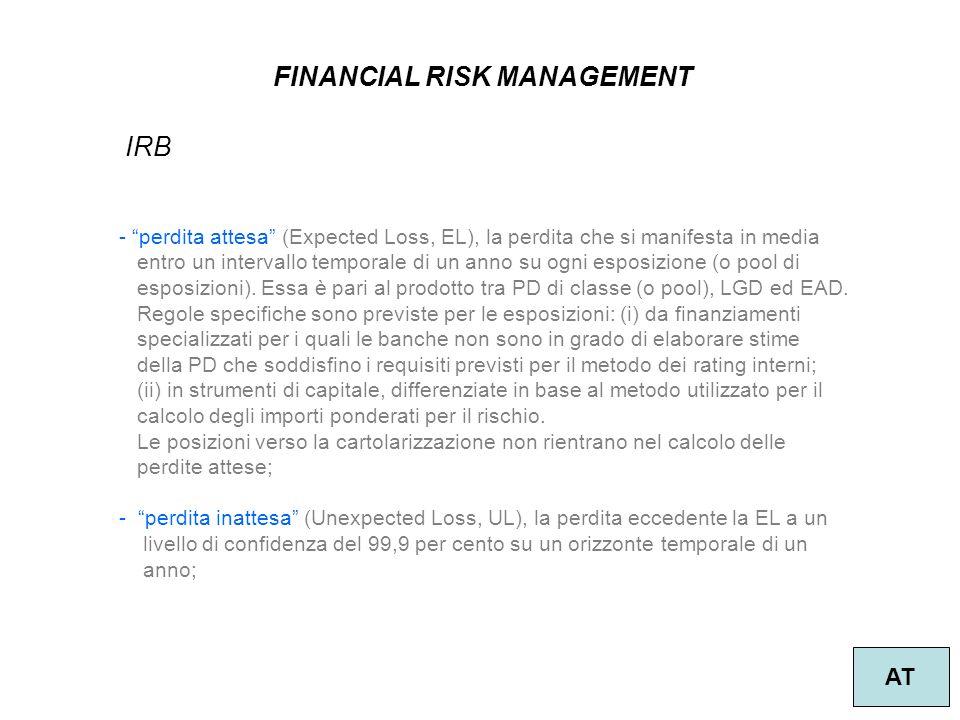 13 FINANCIAL RISK MANAGEMENT AT IRB - perdita attesa (Expected Loss, EL), la perdita che si manifesta in media entro un intervallo temporale di un anno su ogni esposizione (o pool di esposizioni).