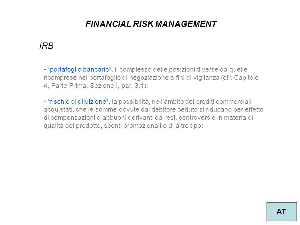 14 FINANCIAL RISK MANAGEMENT AT IRB - portafoglio bancario, il complesso delle posizioni diverse da quelle ricomprese nel portafoglio di negoziazione a fini di vigilanza (cfr.