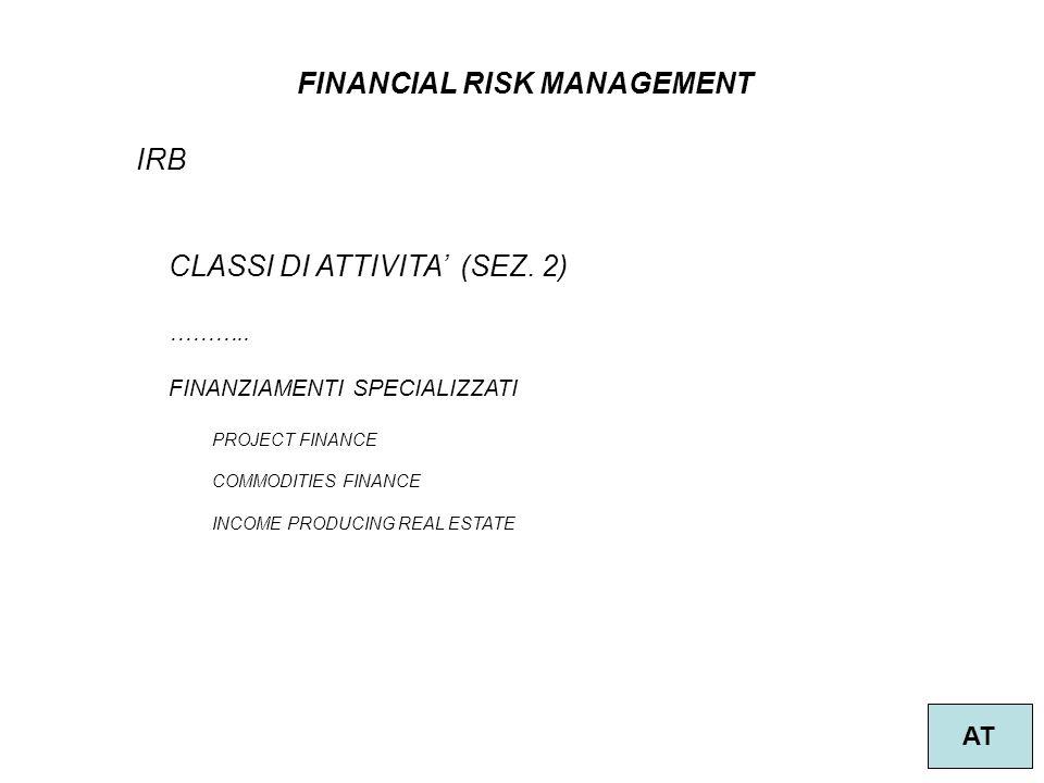15 FINANCIAL RISK MANAGEMENT AT IRB CLASSI DI ATTIVITA (SEZ.
