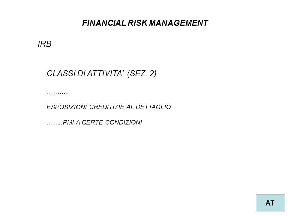 16 FINANCIAL RISK MANAGEMENT AT IRB CLASSI DI ATTIVITA (SEZ.