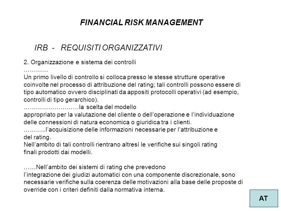 19 FINANCIAL RISK MANAGEMENT AT IRB - REQUISITI ORGANIZZATIVI 2.