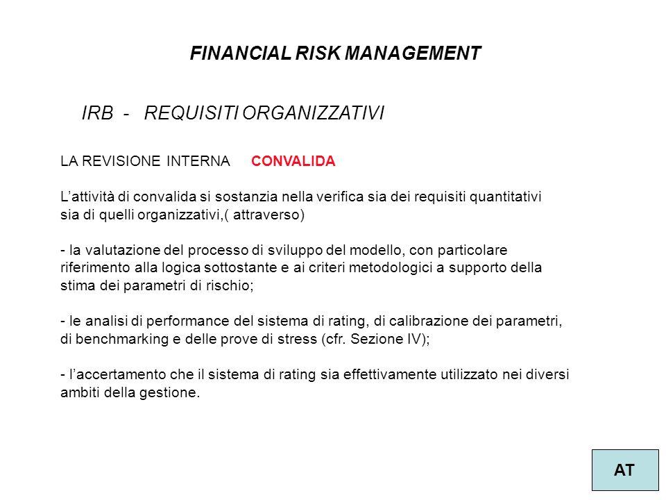 22 FINANCIAL RISK MANAGEMENT AT IRB - REQUISITI ORGANIZZATIVI LA REVISIONE INTERNA CONVALIDA Lattività di convalida si sostanzia nella verifica sia dei requisiti quantitativi sia di quelli organizzativi,( attraverso) - la valutazione del processo di sviluppo del modello, con particolare riferimento alla logica sottostante e ai criteri metodologici a supporto della stima dei parametri di rischio; - le analisi di performance del sistema di rating, di calibrazione dei parametri, di benchmarking e delle prove di stress (cfr.