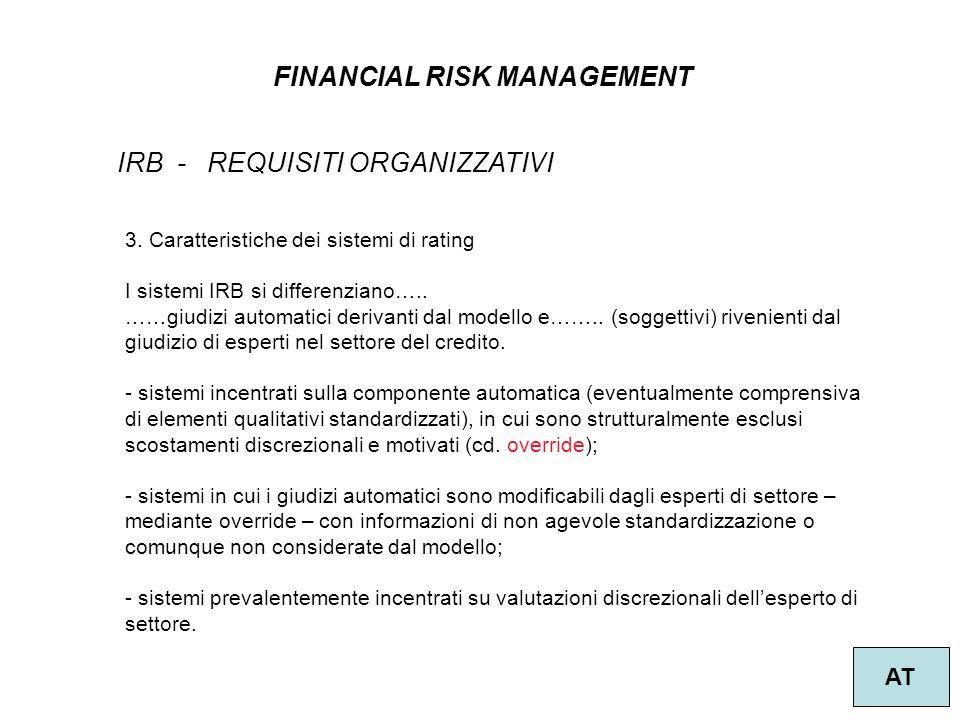 24 FINANCIAL RISK MANAGEMENT AT IRB - REQUISITI ORGANIZZATIVI 3.