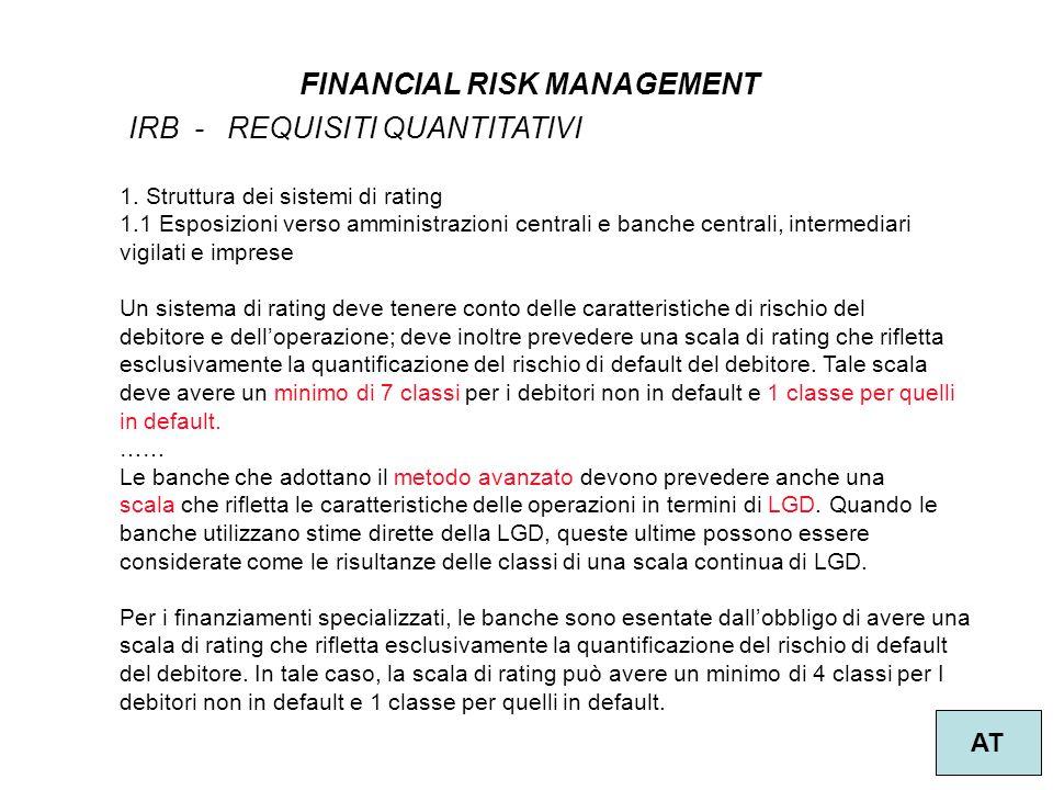 31 FINANCIAL RISK MANAGEMENT AT IRB - REQUISITI QUANTITATIVI 1.