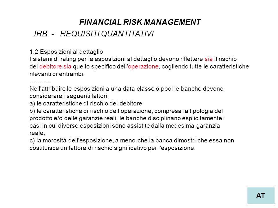32 FINANCIAL RISK MANAGEMENT AT IRB - REQUISITI QUANTITATIVI 1.2 Esposizioni al dettaglio I sistemi di rating per le esposizioni al dettaglio devono riflettere sia il rischio del debitore sia quello specifico dell operazione, cogliendo tutte le caratteristiche rilevanti di entrambi.
