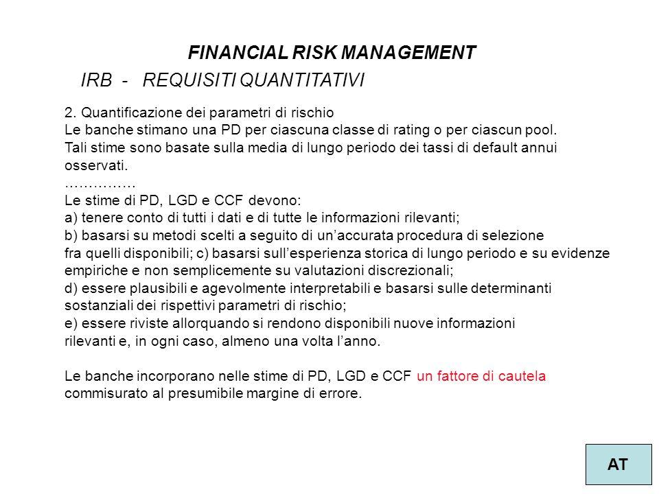 33 FINANCIAL RISK MANAGEMENT AT IRB - REQUISITI QUANTITATIVI 2.