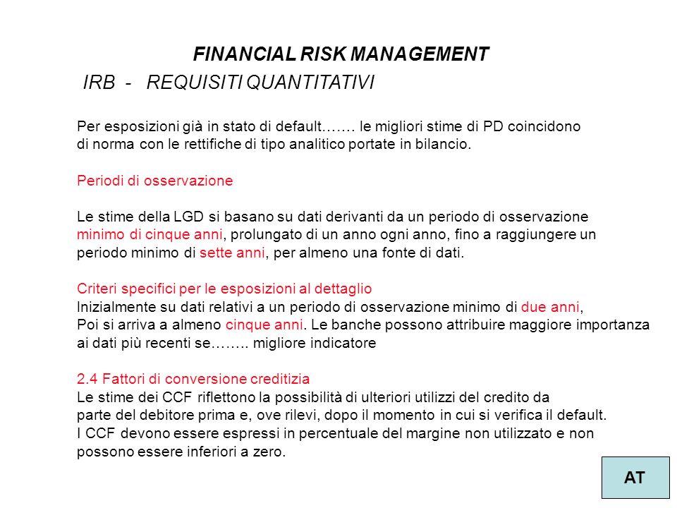 39 FINANCIAL RISK MANAGEMENT AT IRB - REQUISITI QUANTITATIVI Per esposizioni già in stato di default…….