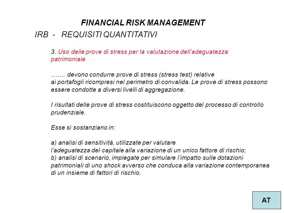 40 FINANCIAL RISK MANAGEMENT AT IRB - REQUISITI QUANTITATIVI 3.