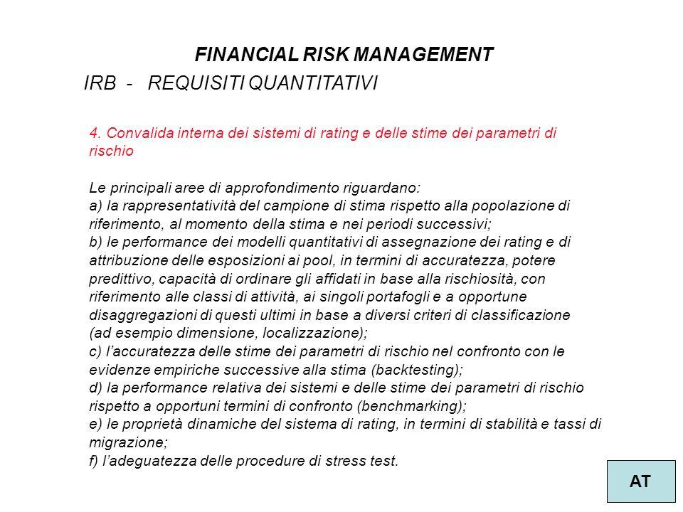 42 FINANCIAL RISK MANAGEMENT AT IRB - REQUISITI QUANTITATIVI 4.