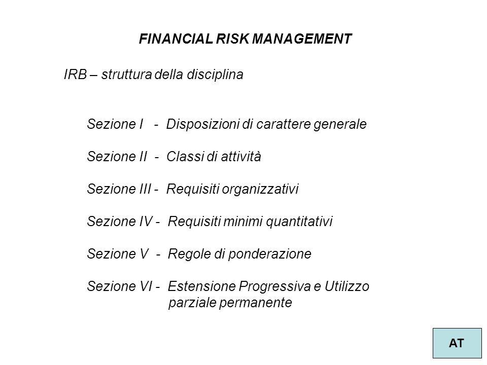 6 FINANCIAL RISK MANAGEMENT AT IRB – struttura della disciplina Sezione I - Disposizioni di carattere generale Sezione II - Classi di attività Sezione III - Requisiti organizzativi Sezione IV - Requisiti minimi quantitativi Sezione V - Regole di ponderazione Sezione VI - Estensione Progressiva e Utilizzo parziale permanente