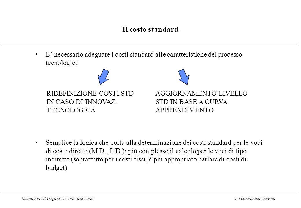Economia ed Organizzazione aziendaleLa contabilità interna Il costo standard E necessario adeguare i costi standard alle caratteristiche del processo