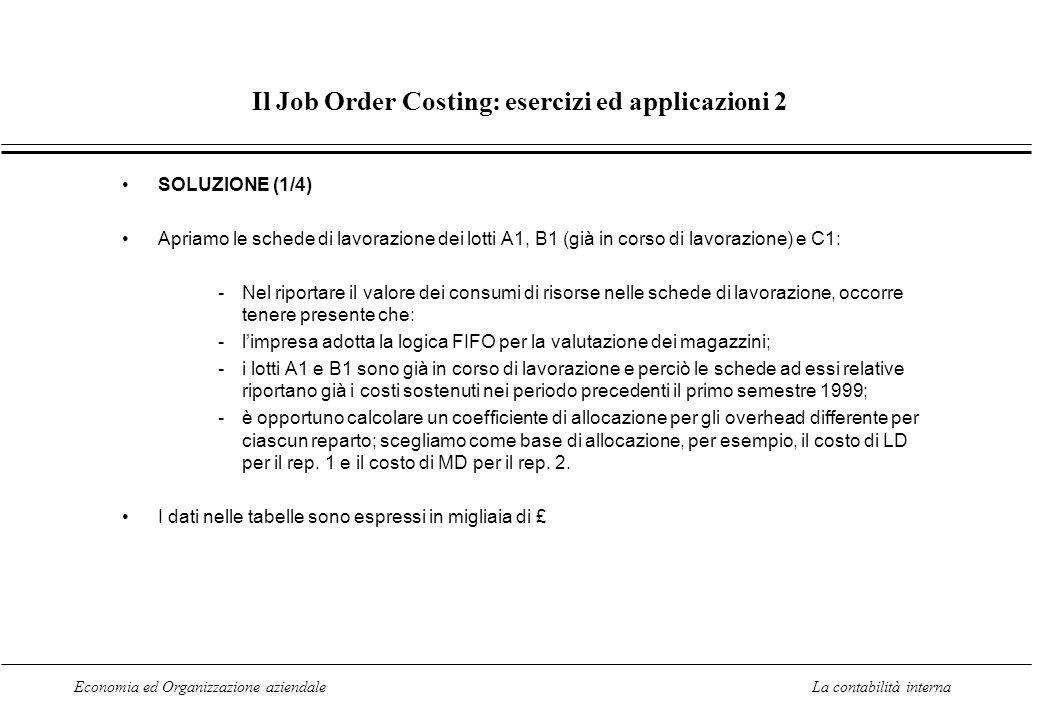 Economia ed Organizzazione aziendaleLa contabilità interna Il Job Order Costing: esercizi ed applicazioni 2 SOLUZIONE (1/4) Apriamo le schede di lavor