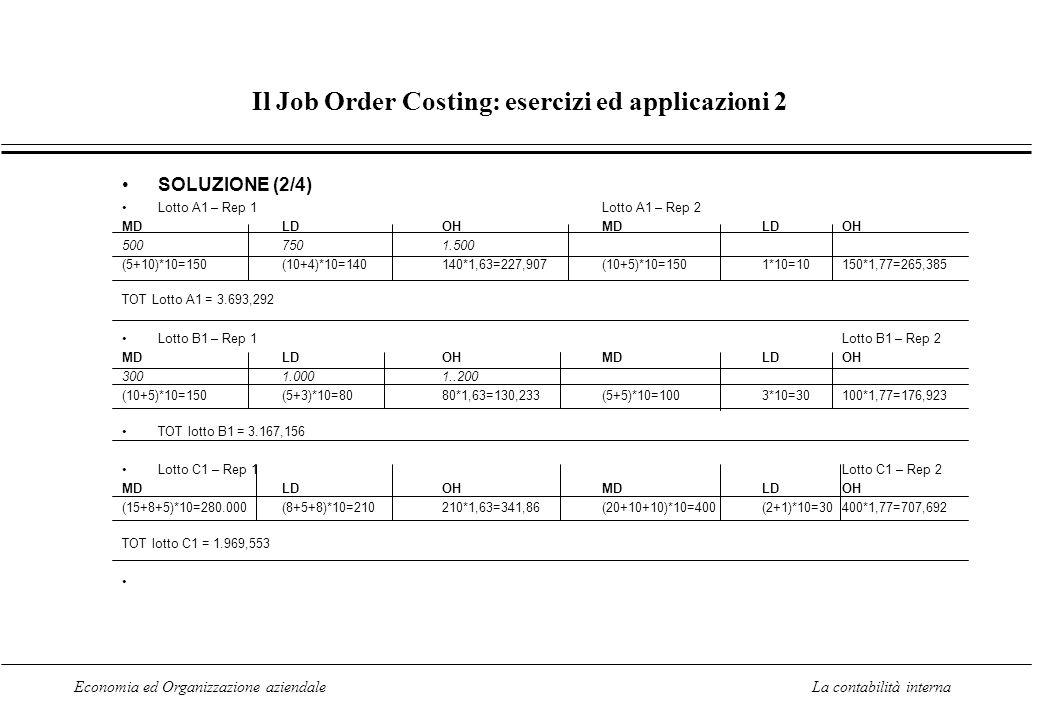 Economia ed Organizzazione aziendaleLa contabilità interna Il Job Order Costing: esercizi ed applicazioni 2 SOLUZIONE (2/4) Lotto A1 – Rep 1Lotto A1 –