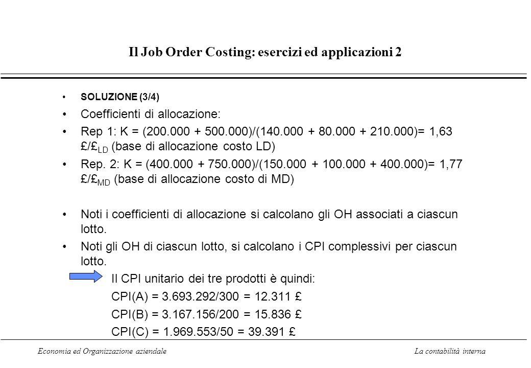 Economia ed Organizzazione aziendaleLa contabilità interna Il Job Order Costing: esercizi ed applicazioni 2 SOLUZIONE (3/4) Coefficienti di allocazion