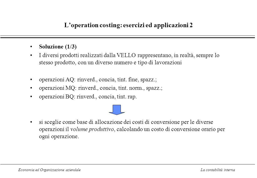 Economia ed Organizzazione aziendaleLa contabilità interna Loperation costing: esercizi ed applicazioni 2 Soluzione (1/3) I diversi prodotti realizzat