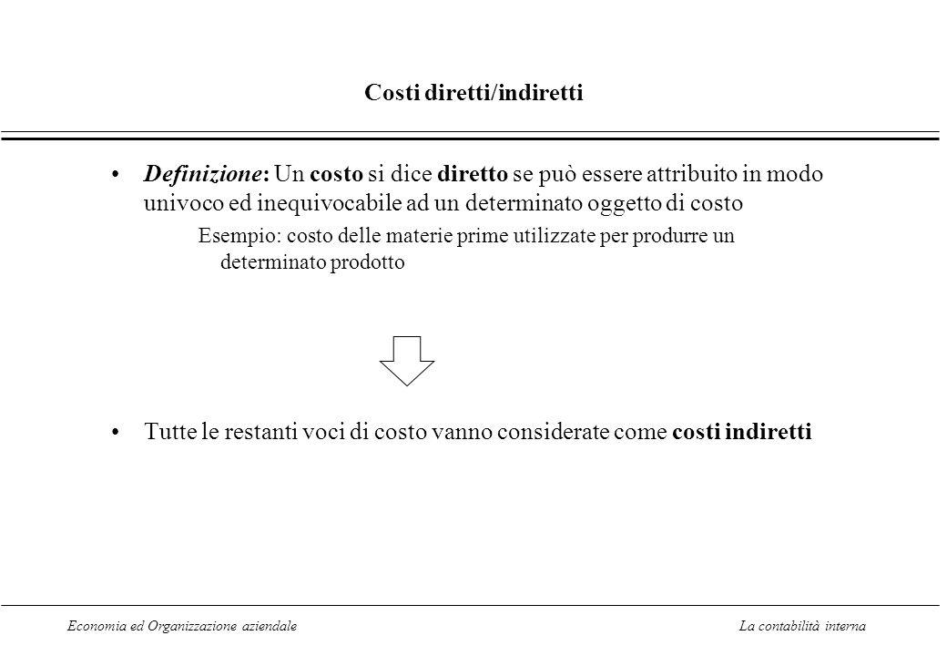 Economia ed Organizzazione aziendaleLa contabilità interna Costi diretti/indiretti Definizione: Un costo si dice diretto se può essere attribuito in m