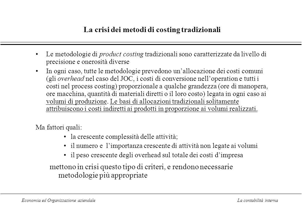 Economia ed Organizzazione aziendaleLa contabilità interna La crisi dei metodi di costing tradizionali Le metodologie di product costing tradizionali