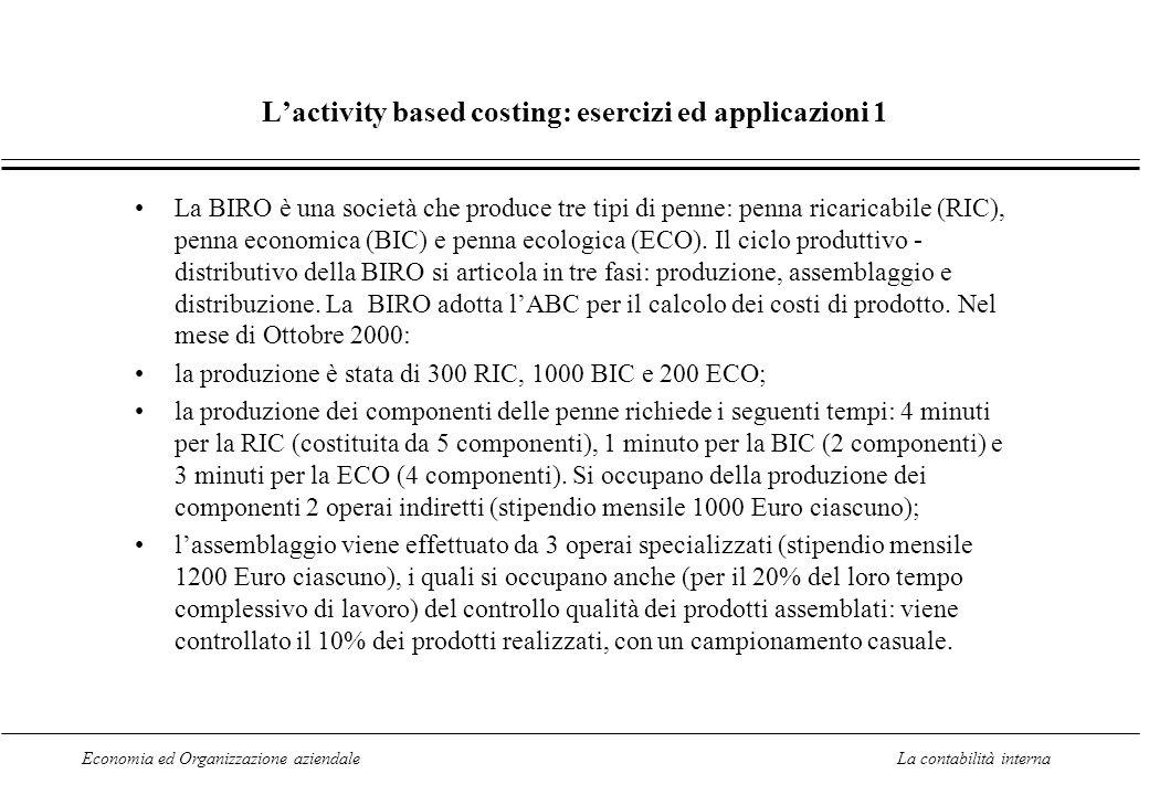 Economia ed Organizzazione aziendaleLa contabilità interna Lactivity based costing: esercizi ed applicazioni 1 La BIRO è una società che produce tre t