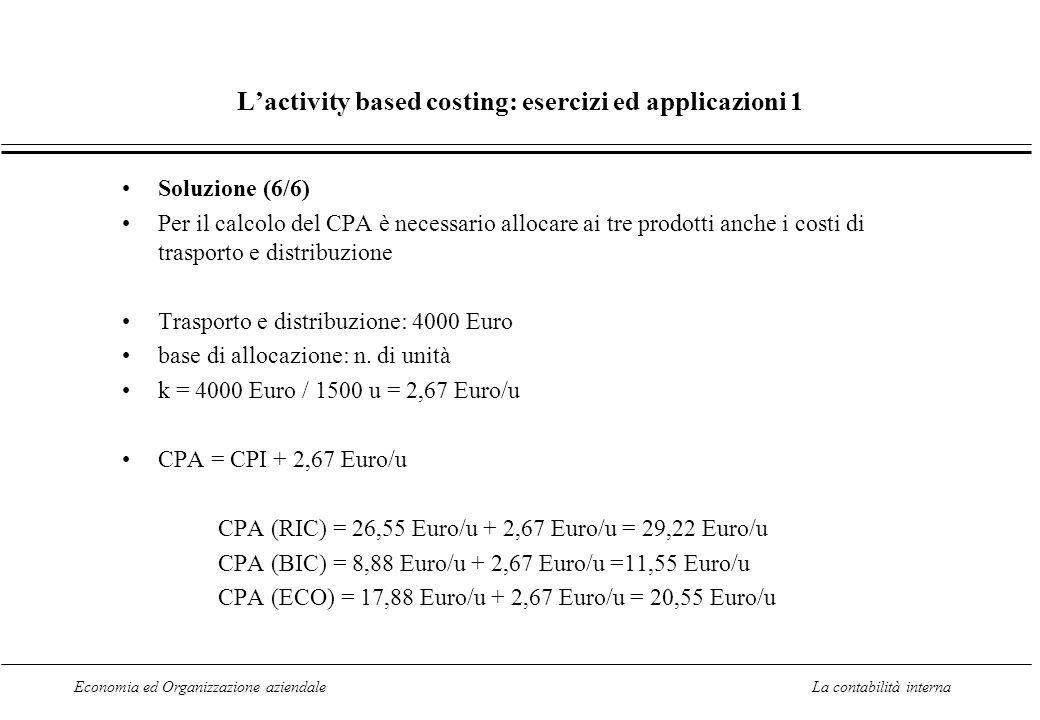 Economia ed Organizzazione aziendaleLa contabilità interna Lactivity based costing: esercizi ed applicazioni 1 Soluzione (6/6) Per il calcolo del CPA