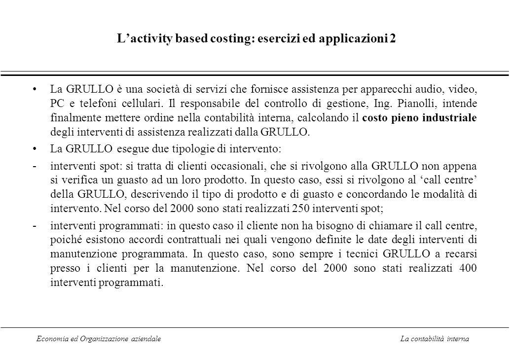 Economia ed Organizzazione aziendaleLa contabilità interna Lactivity based costing: esercizi ed applicazioni 2 La GRULLO è una società di servizi che