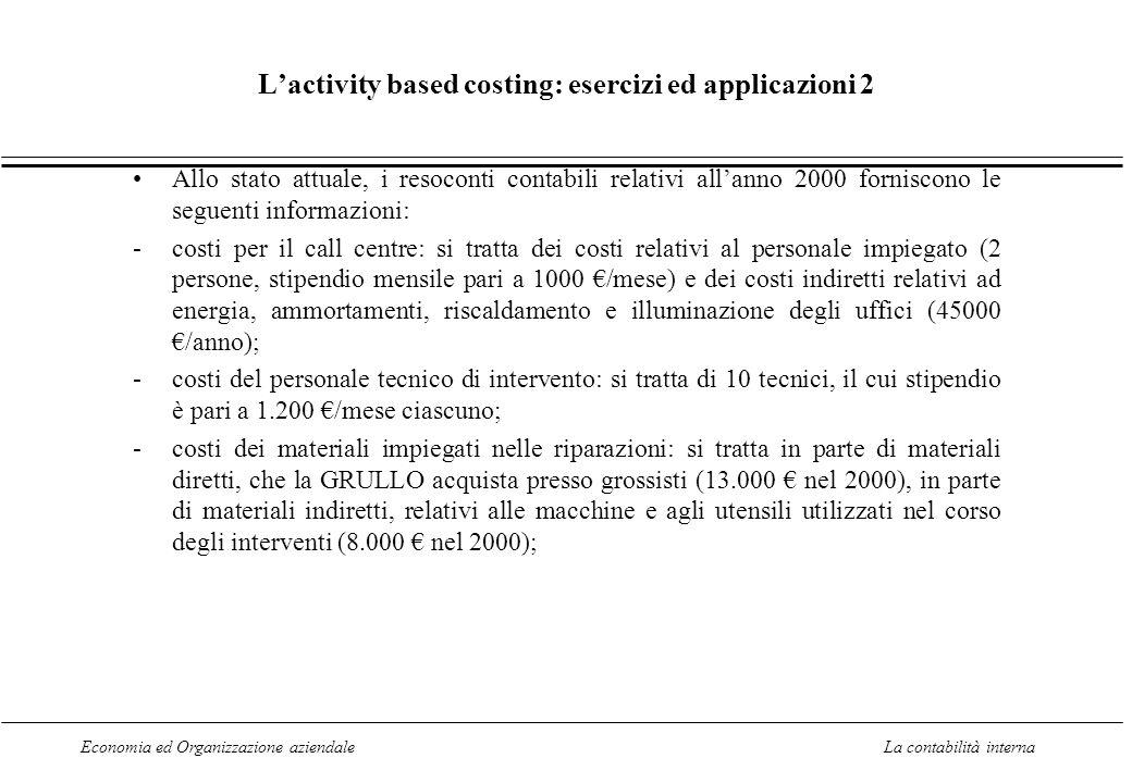 Economia ed Organizzazione aziendaleLa contabilità interna Lactivity based costing: esercizi ed applicazioni 2 Allo stato attuale, i resoconti contabi