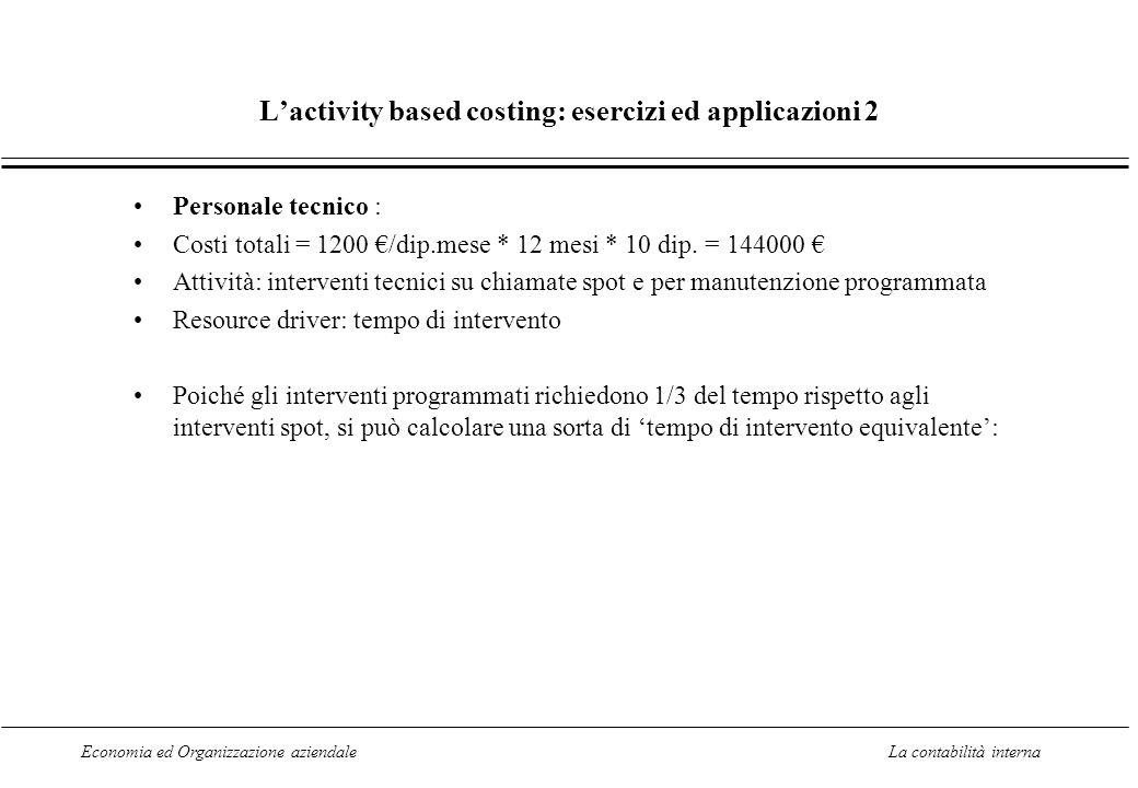Economia ed Organizzazione aziendaleLa contabilità interna Lactivity based costing: esercizi ed applicazioni 2 Personale tecnico : Costi totali = 1200