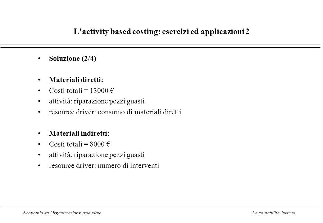 Economia ed Organizzazione aziendaleLa contabilità interna Lactivity based costing: esercizi ed applicazioni 2 Soluzione (2/4) Materiali diretti: Cost