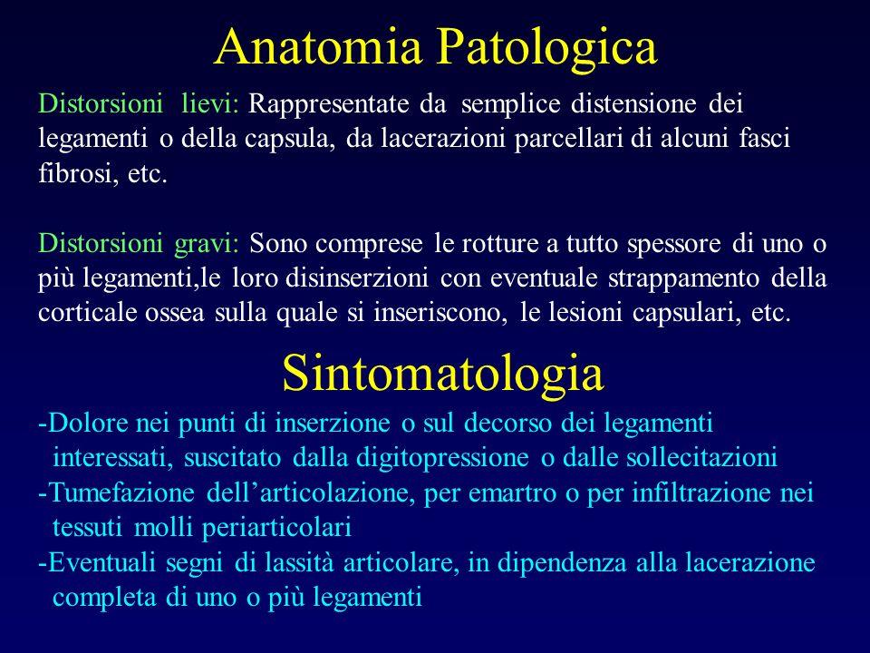 Anatomia Patologica Distorsioni lievi: Rappresentate da semplice distensione dei legamenti o della capsula, da lacerazioni parcellari di alcuni fasci