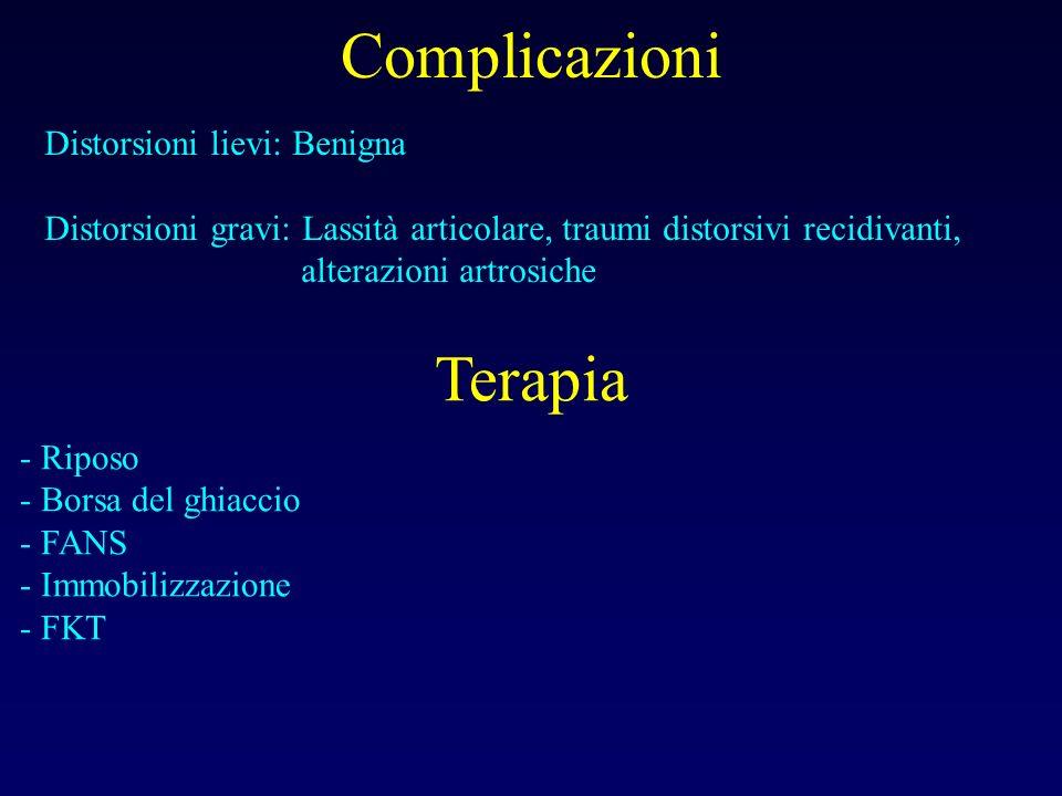 Complicazioni Distorsioni lievi: Benigna Distorsioni gravi: Lassità articolare, traumi distorsivi recidivanti, alterazioni artrosiche Terapia - Riposo